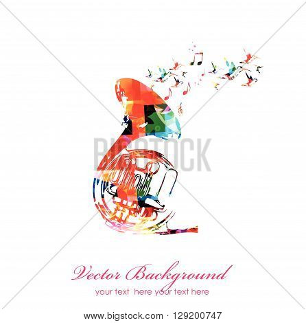 Vector illustration of colorful french horn with hummingbirds