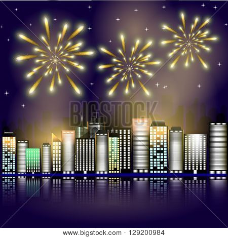 Firework in the city.Firework in the night sky in the town. Stars in the night sky lighting with firework. Vector illustration. Abstract background with buildings, firework, stars. Victory symbol.