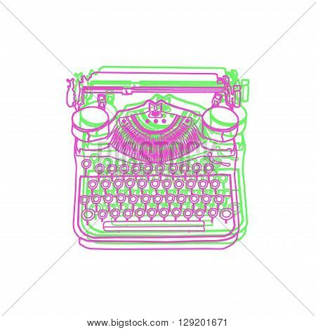 Vintage vector illustrations of retro typewriter inspire writers screenwriters copywriters and other creative people.
