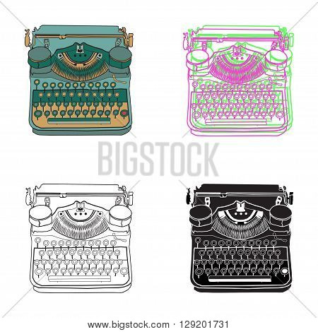 Set of 4 vintage retro typewriters vector illustrations inspire writers screenwriters copywriters and other creative people.