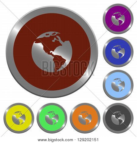 Set of color glossy coin-like Earth buttons.