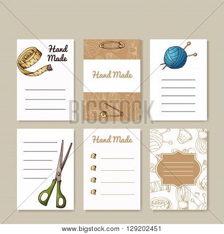 Set of sewing cards. Hand made creative templates for your design. Vector illustration