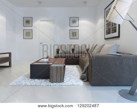 White living room modern style. Large bright living room for a pleasant stay with corner sofa and functional table. 3D render