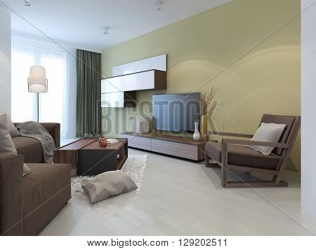 Wall system in modern living room. Idea of coffe-table in interior. 3D render