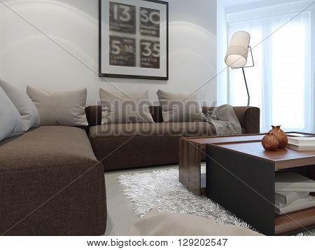 Hotel white lounge room with brown furniture. 3D render
