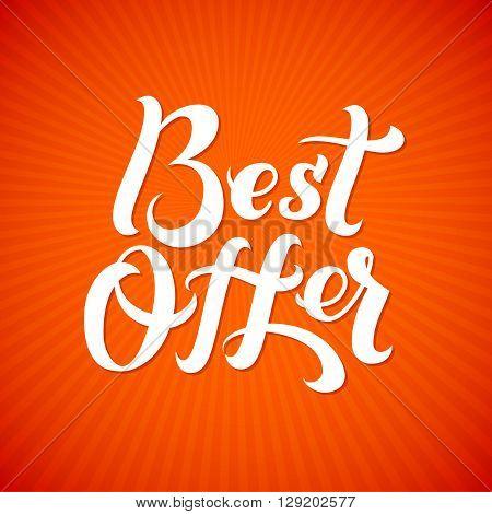 Best Offer Logo. Best Offer print on T-shirt. White calligraphy lettering on an orange background.