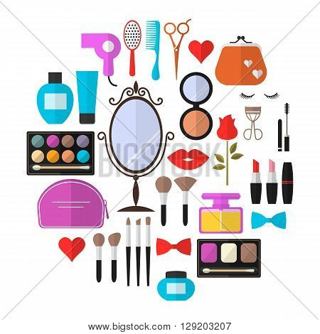 Beauty, Cosmetic and Makeup Vector flat Icons Set . Cosmetic products, makeup brushes, lipstick, perfume, eye makeup. Symbols for fashion, beauty salon or wellness centers. Women accessories.