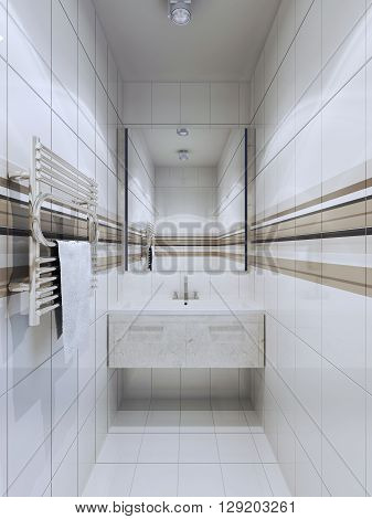 Fusion bathroom trend. A large mirror expands space. Tiling floor and walls sink console of marble. 3D render