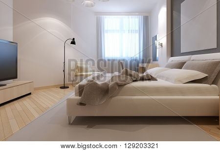 Idea of art deco bedroom in white color with light bisque furnirute and flooring. 3D render