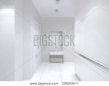 Minimalist style white corridor. Idea of bright interior of high-tech corridor with large wardrobe white color. 3D render
