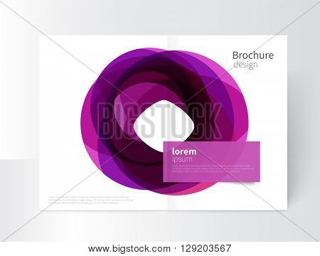 Vector Abstract Business Brochure, Annual Report, Flyer, Leaflet Cover Template. a3 size Geometric abstract background element purple circles intersecting. concept catalouge design. EPS 10
