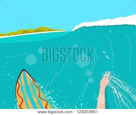 Surfer engaged in extreme sports conquering the waves near the beach. Vector illustration