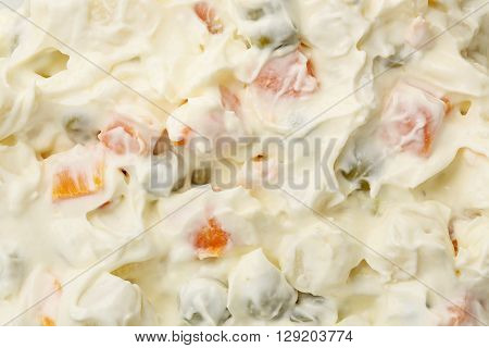 closeup of russian salad for background use