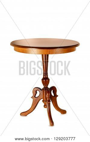 wooden round table isolated on white background