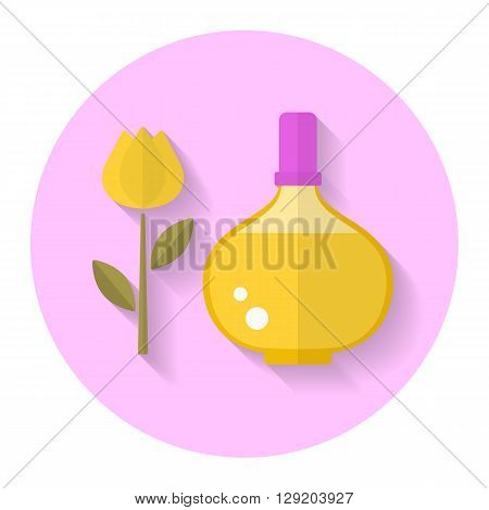 Perfume bottle icon flat style with long shadow. Vector illustration.