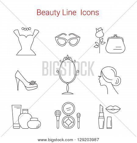 Beauty, Cosmetic and Makeup Vector line icons. Beauty logo design elements. Symbols and icons for fashion, beauty salon, spa, hairdressers or wellness centers. Women accessories.