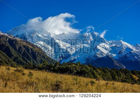 Aoraki National Park in southern island of New Zealand