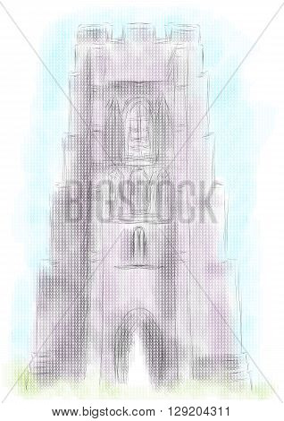 glastonbury tor on abstract multicolor background. 10 EPS