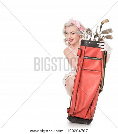 Cute Retro Girl Peeking Out From Behind Red Golf Bag, Isolated On White With Space For Text