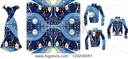 Vector fashion illustration. Beautiful card with female dress and jackets with winter pattern.