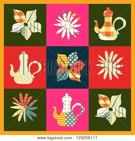 Beautiful patchwork pattern with teapots and flowers. Cute card with quilt design. Vector illustration.