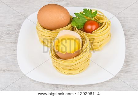 Pasta In Form Nest, Egg And Yolk In Egg Shell