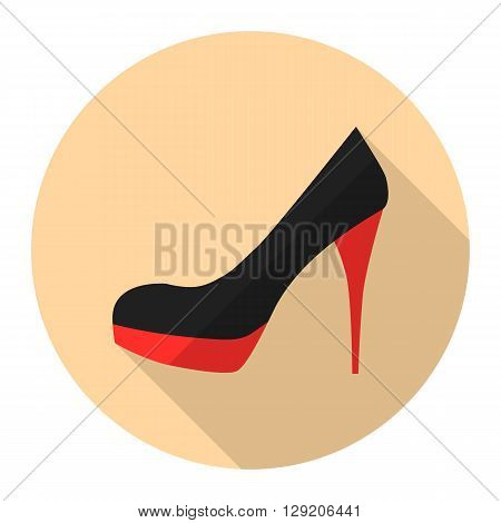 Woman high heel shoes vector flat icon with long shadow. Stiletto heels.