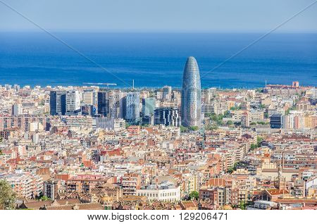 Torre Agbar From Turo Del Rovira In Barcelona, Spain