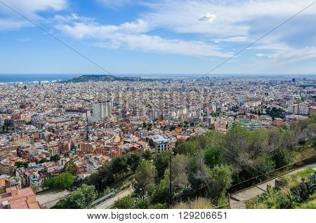 Panoramic View From Turo Del Rovira In Barcelona, Spain