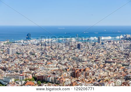 The Harbor Area From Turo Del Rovira In Barcelona, Spain