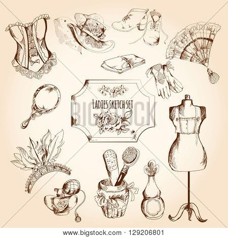 Ladies sketch set with retro woman fashion clothes and decorative elements isolated vector illustration