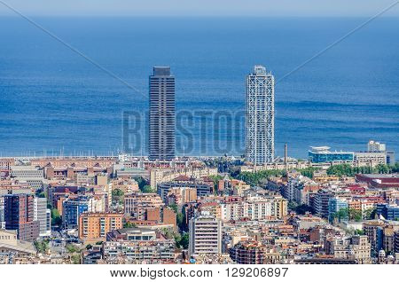 Twin Towers From Turo Del Rovira In Barcelona, Spain