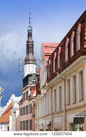 Old city Tallinn Estonia. old houses and Holy Spirit Church