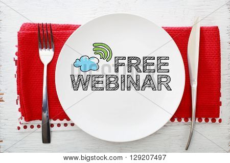 Free Webinar Concept On White Plate