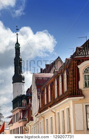 Old city Tallinn Estonia. Holy Spirit Church