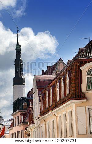 Old city Tallinn Estonia. Holy Spirit Church