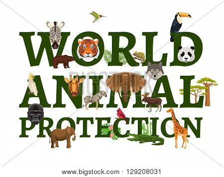 Poster with title illustrating protection of wild world animal with white background vector illustration