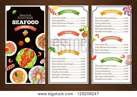 Compact color menu for seafood cafe or restaurant with wood background with title group of meal vector illustration