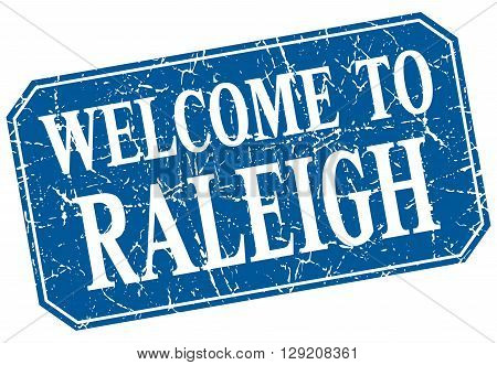 welcome to Raleigh blue square grunge stamp
