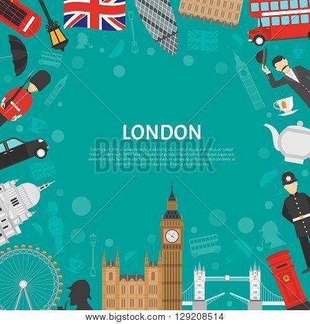 London city landmarks and cultural symbols decorative border design for frame or notepad flat abstract vector illustration