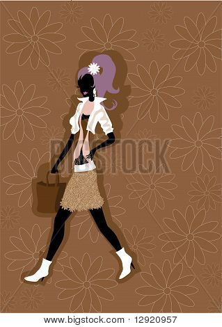 Walking Young Woman Silhouette