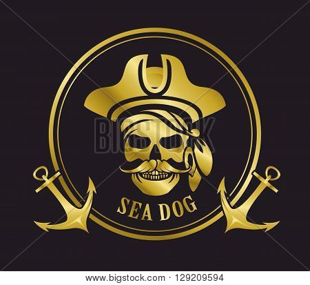 vector black and white emblem skull sea pirate gold