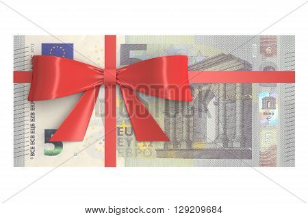 5 Euro banknotes with red bow gift concept. 3D rendering