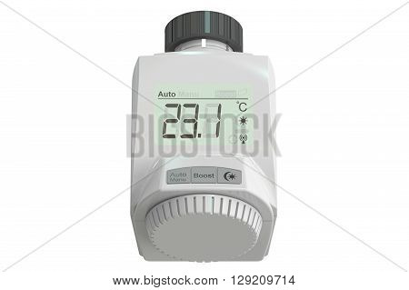 Digital radiator thermostatic valve 3D rendering isolated on white background