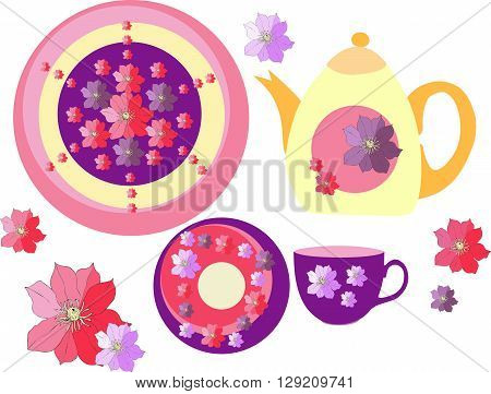 Beautiful collection of crockery with hand drawn clematis flowers. Two plates teapot and teacup. Vector illustration.