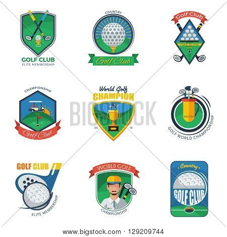 Golf Labels Set. Golf Emblems Set. Golf Vector Illustration. Golf Flat Symbols. Golf Design Set.