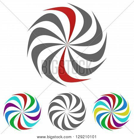 Swirl logo vector. Swirl icon symbol design template set for spiral, vortex, wheel, motion, rotation concepts.