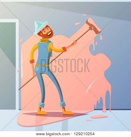 House painter cartoon background with interior redecorating symbols vector illustration