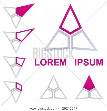 Triangle logo vector. Triangle icon symbol design template set for defense, business, corporate concepts.