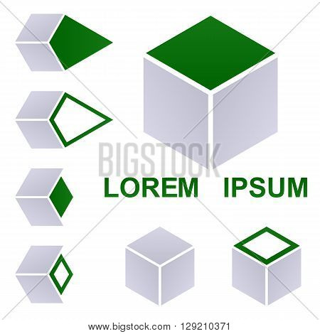 Cube logo vector. Cube icon symbol design template set for packaging, shipping, delivery, transport concepts.